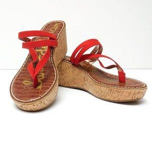 Sam Edelman Red Rasha Platform Wedge Sandal